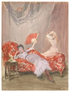 painting of a woman reclined on a chaise lounge holding a red fan