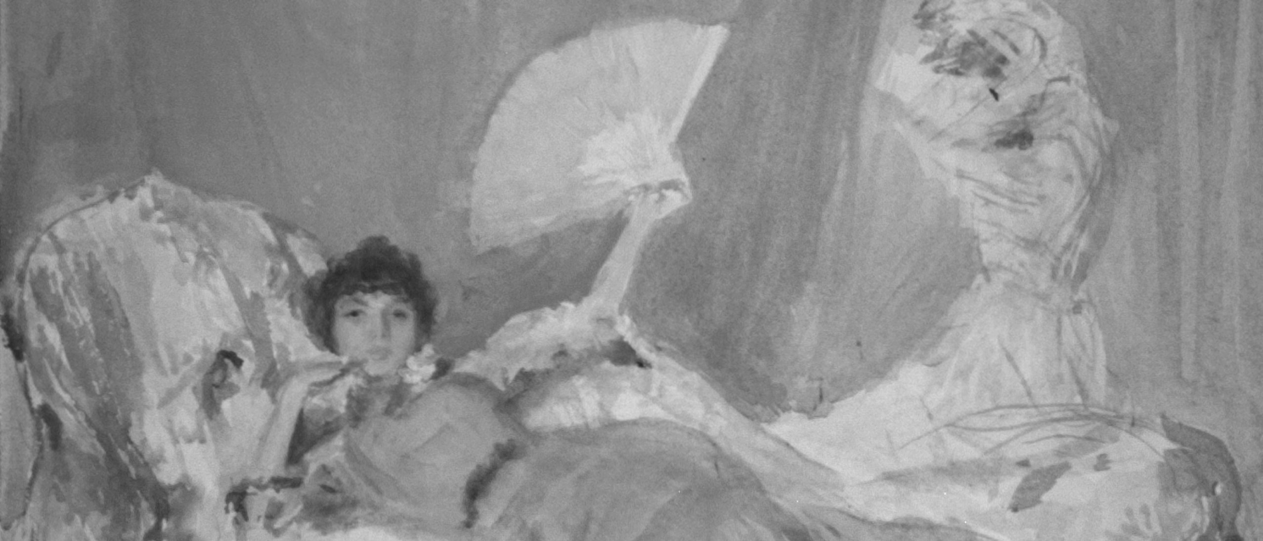X-ray of a painting of a woman reclined on a chaise lounge holding a fan