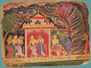 Krishna Carried Off by the Whirlwind Demon, from a Bhagavata Purana (Book of the Lord) India, Delhi–Agra , ca. 1520–30 Opaque watercolor on paper 18.4 x 23.9 cm (7 1/4 x 9 7/16 in.) Purchase F1987.4