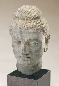 Head of the Buddha Pakistan (Ancient Gandhara) 3rd century Schist; height 27.5 cm (10 7/8 in.) Gift of Mr. and Mrs. Alan D. Wolfe S1989.19