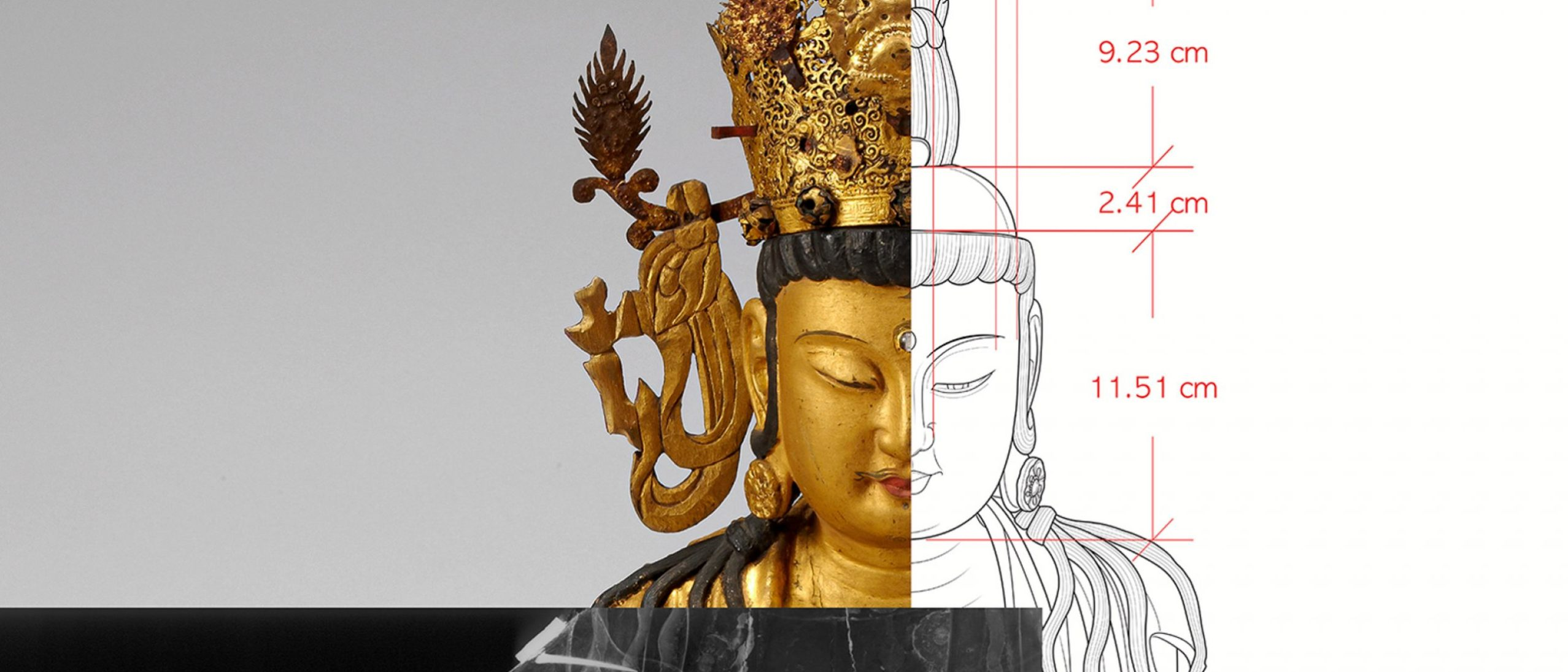 A collage of three images - the head of the NMK avalokiteshvara, a smiling golden figure with a crown; a diagram of the same image with measurements, and a black and white xray