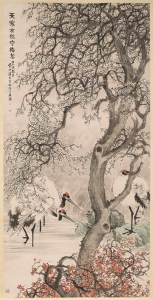 Ink painting of three white cranes with a plum tree with white blossoms in the foreground.