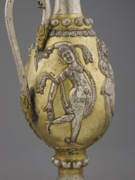 Decorated ewer showing the side with a woman with a dupatta