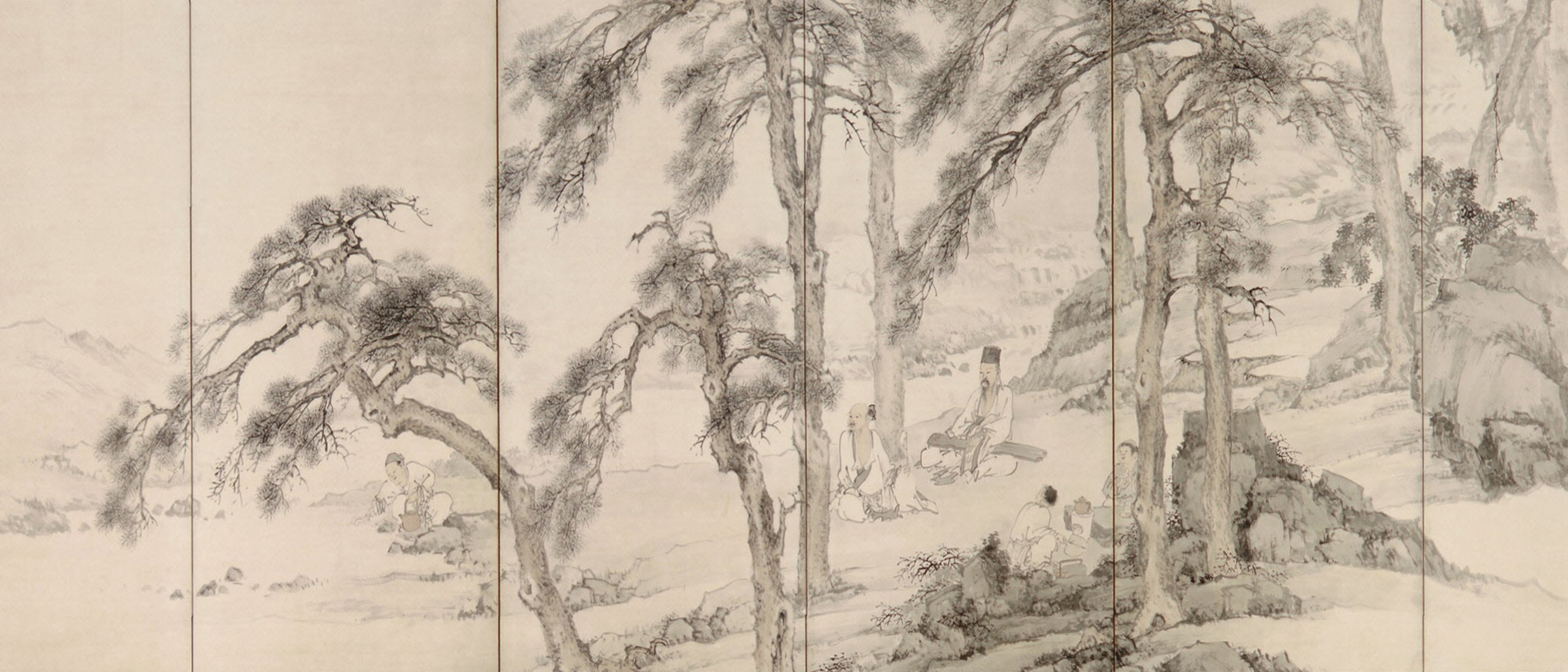 Detail, At Ease in the Countryside: Scholars and Fishermen. Yamamoto Baiitsu (1783–1856).