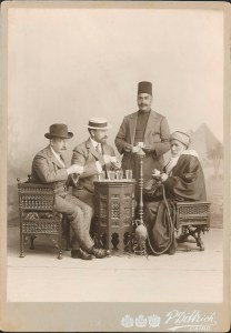 Charles Lang Freer posing for a photo with travel companions in Cairo in 1907.