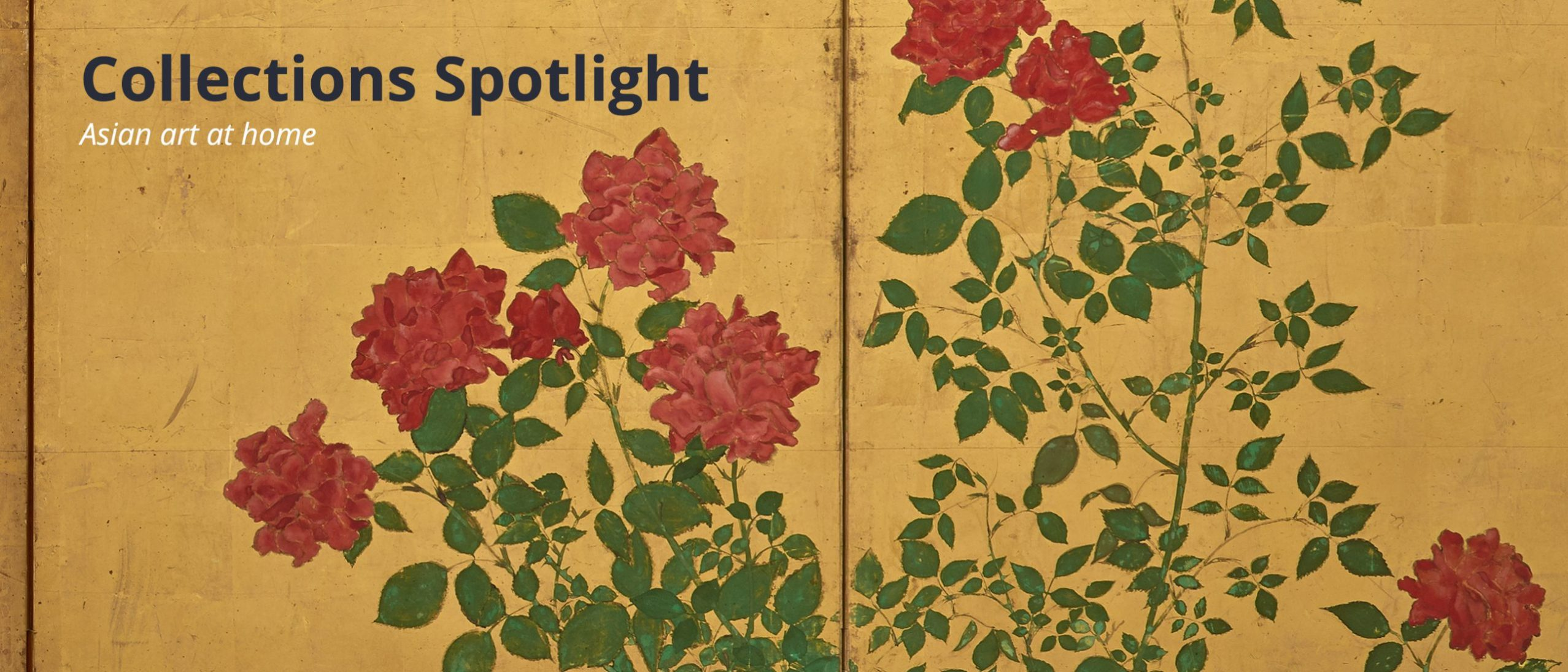a detail of a panel screen showing roses against a gold background