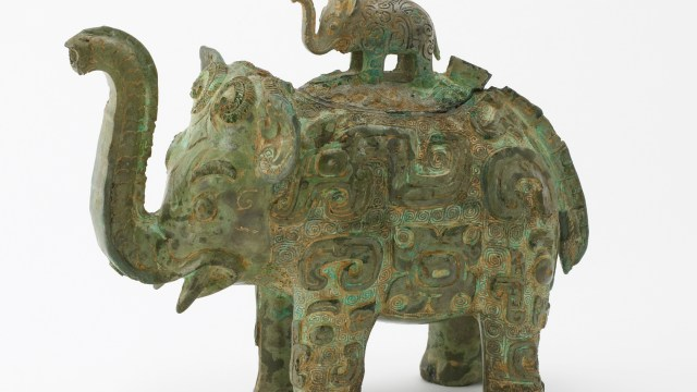 metalwork vessel in the shape of an elephant