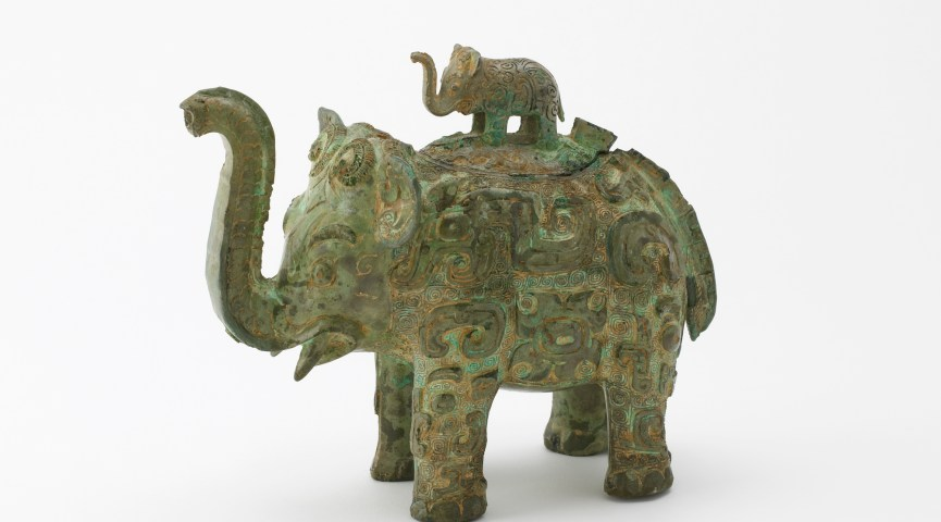 metalwork wine vessel in the shape of an elephant