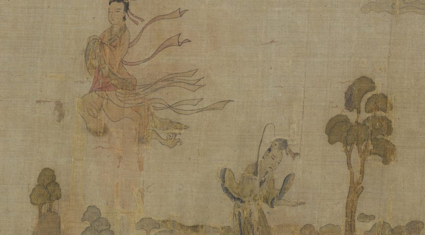 illustration of 3 chinese figures and 1 nymph
