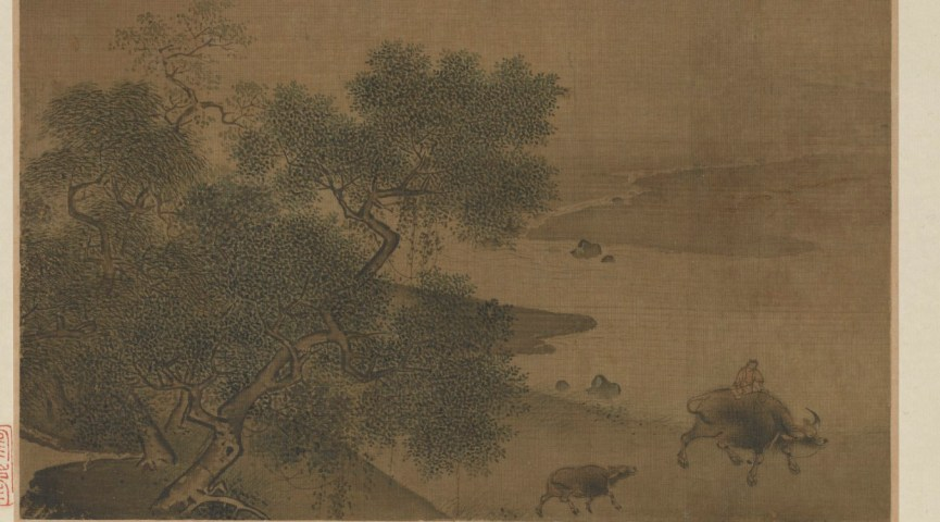 painting of chinese landscape with trees