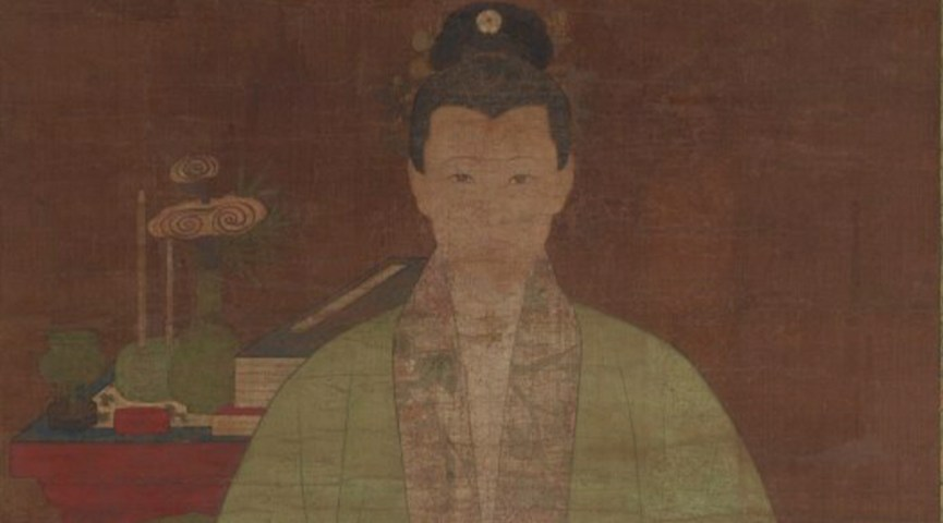 painting of a woman in traditional Chinese attire