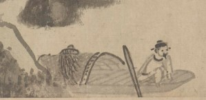 detail of pen and ink illustration of a man in a boat