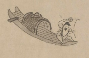 detail of pen and ink illustration of a man in a boat fishing