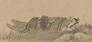 detail of pen and ink illustration of a man sleeping in his boat