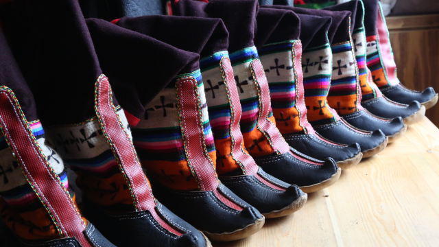photo of colorful boots lined up