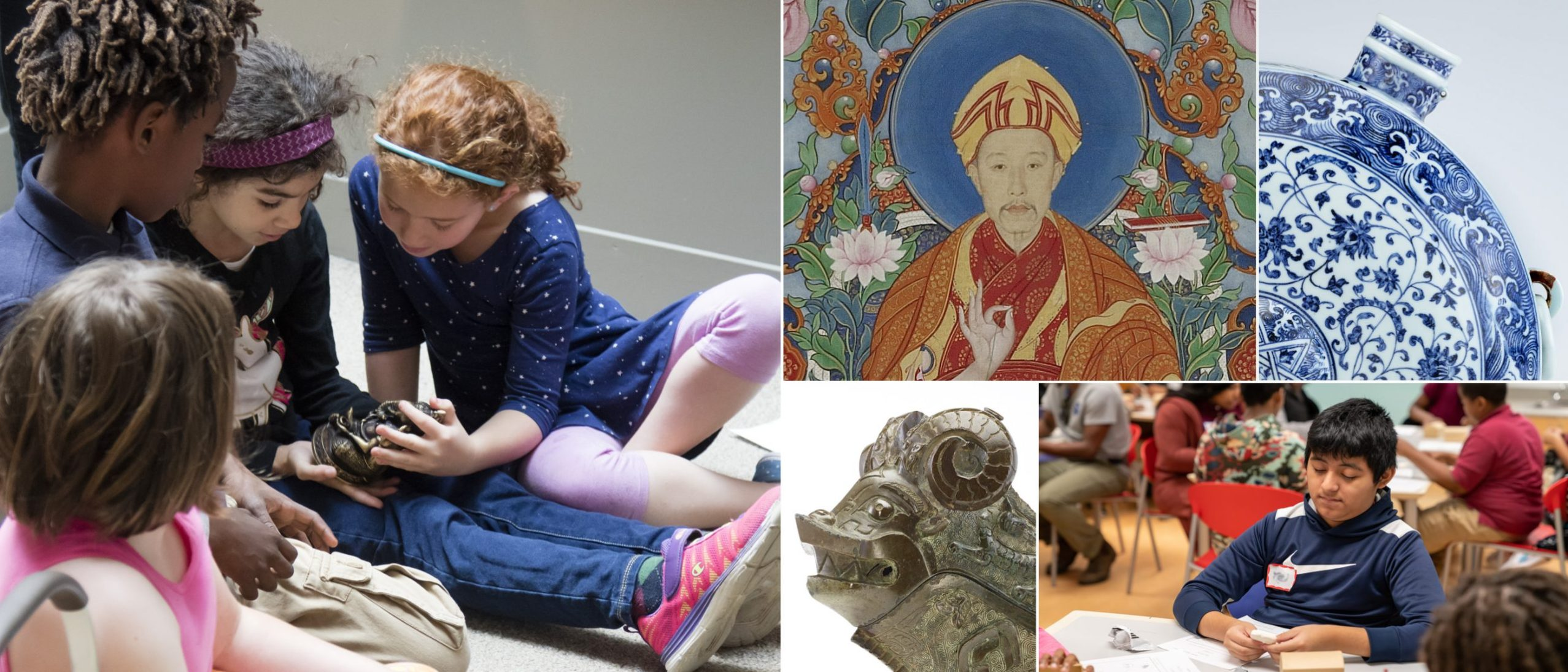 collage of children in a museum and chinese artifacts