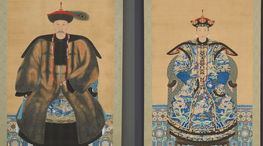 illustrations of a woman and a man dressed in chinese attire