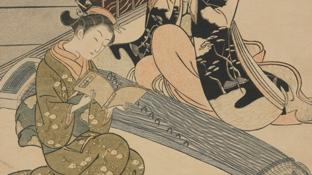 detail of a Japanese print, showing a woman playing the koto