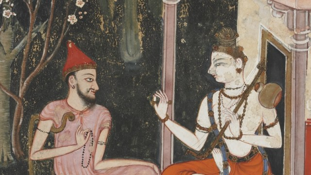 detail from a south asian painting, showing a man speaking to another figure