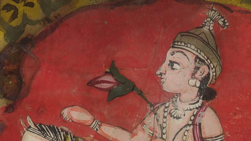 detail from a painting fragment of an Indian prince with a flower in one hand riding a white horse, representing the planet of Venus.