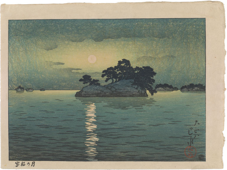 A cloudy night frames a full moon, casting its light on the water below, all in greenish hues.