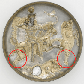 Shapur plate with two red circles, one circle around the hind legs of the horse, and one around the hind legs of the leaping boar