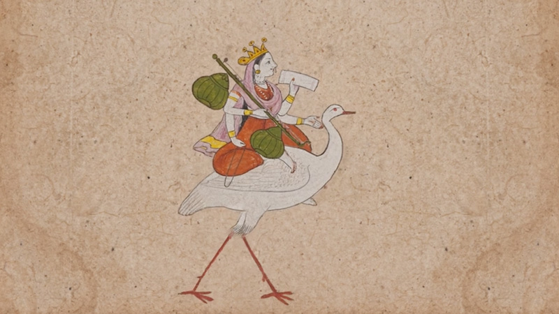 A figure in orange and pink wearing a crown rides a long-legged, long-necked bird