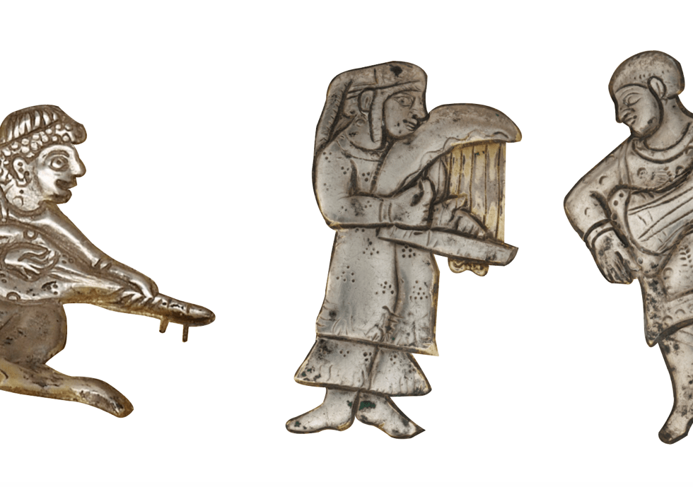 Three figures of musicians depicted in metalwork from the Sasanian period