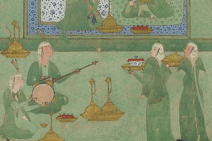 Detail from a Persian painting of musicians playing in a pavilion