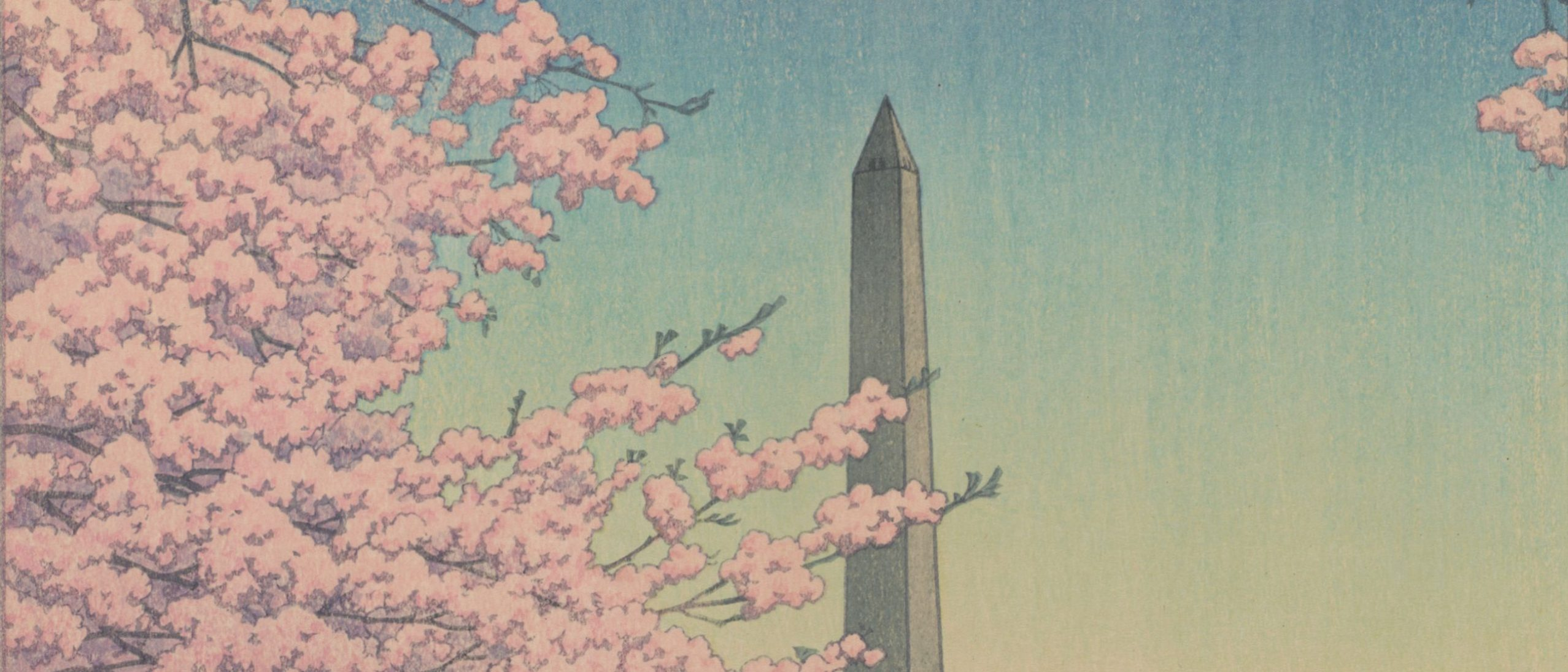 detail from a woodblock print, showing the washington monument glimpsed between pink flowering branches
