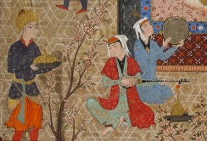 musicians playing the setār and doira