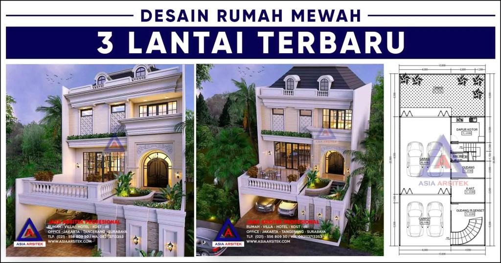Desain Rumah Mewah 3 Lantai Panjang 20 x Lebar 10 m Terbaru 2020 2021 Asia Arsitek 1