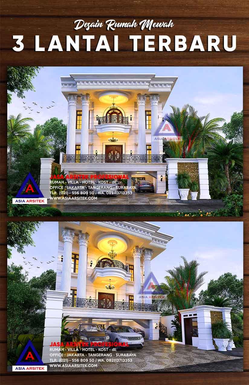 Desain Rumah Mewah 3 Lantai Panjang 30 M X Lebar 13 Terbaru