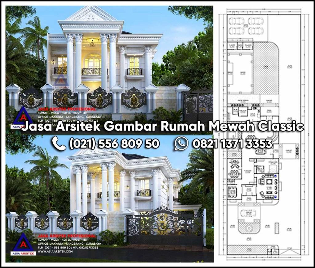 Jasa Arsitek Gambar Rumah Mewah 2 Lantai Classic Kota Pekanbaru Riau