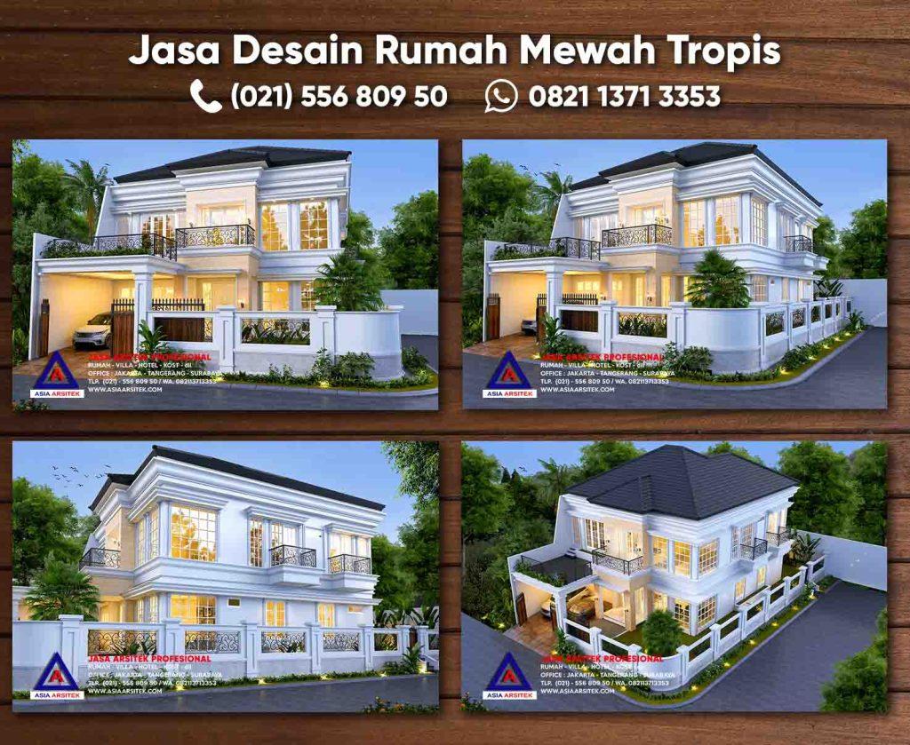 Jasa Desain Rumah Mewah 2 Lantai Tropis Bekasi