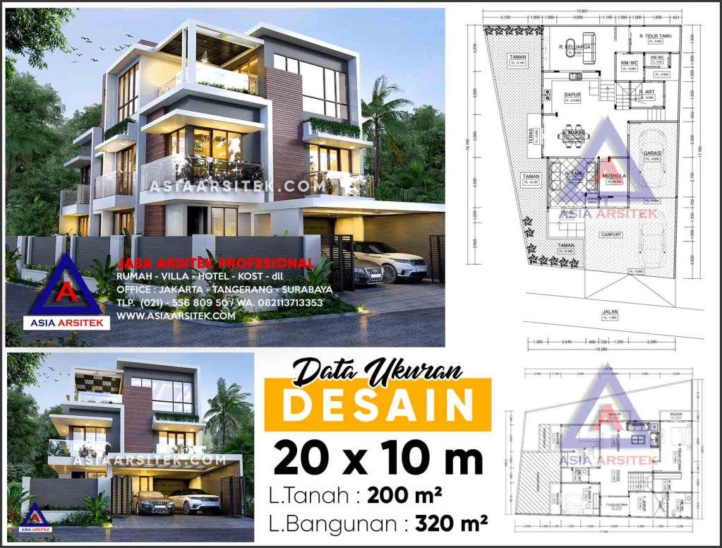Jasa Desain Rumah Tinggal 3 Lantai Minimalis Modern Serpong Park Tangerang Selatan