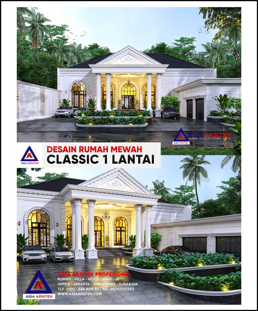 Desain Rumah Mewah Classic 1 Lantai di Lahan 60x25 Meter