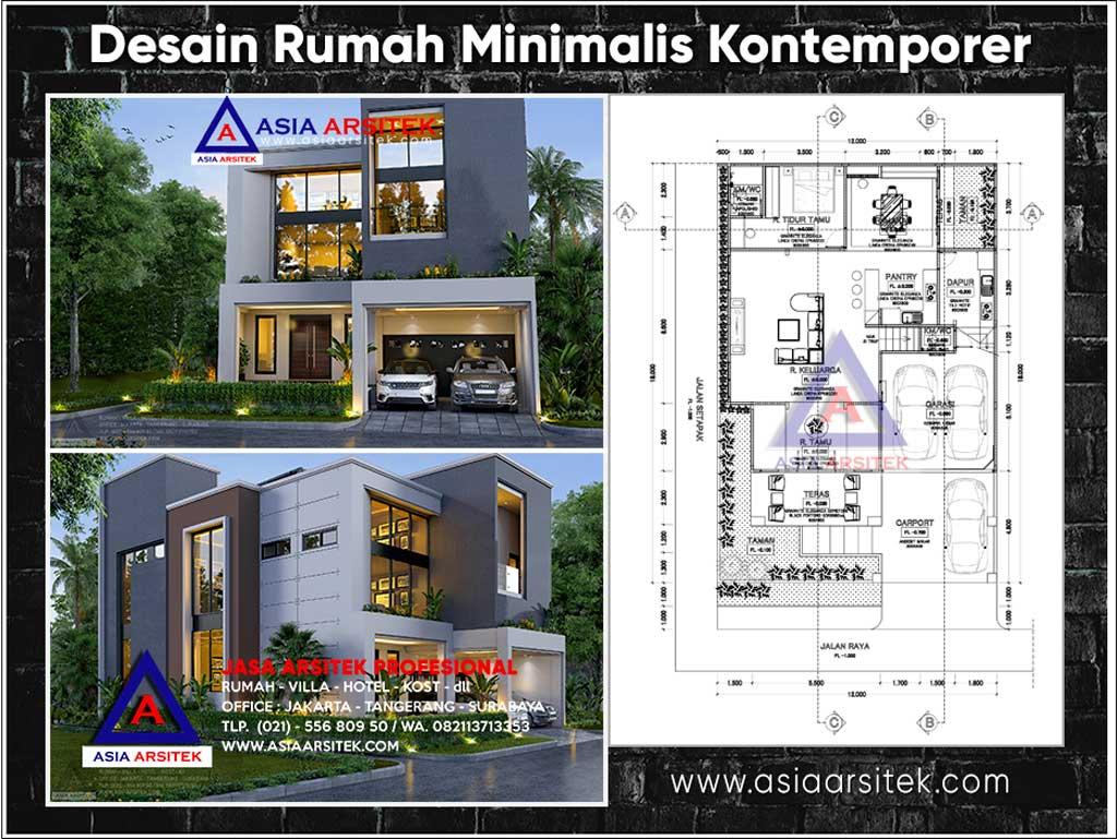 Desain Rumah Minimalis Kontemporer 2 Lantai Ukuran Lahan 18x12 Meter