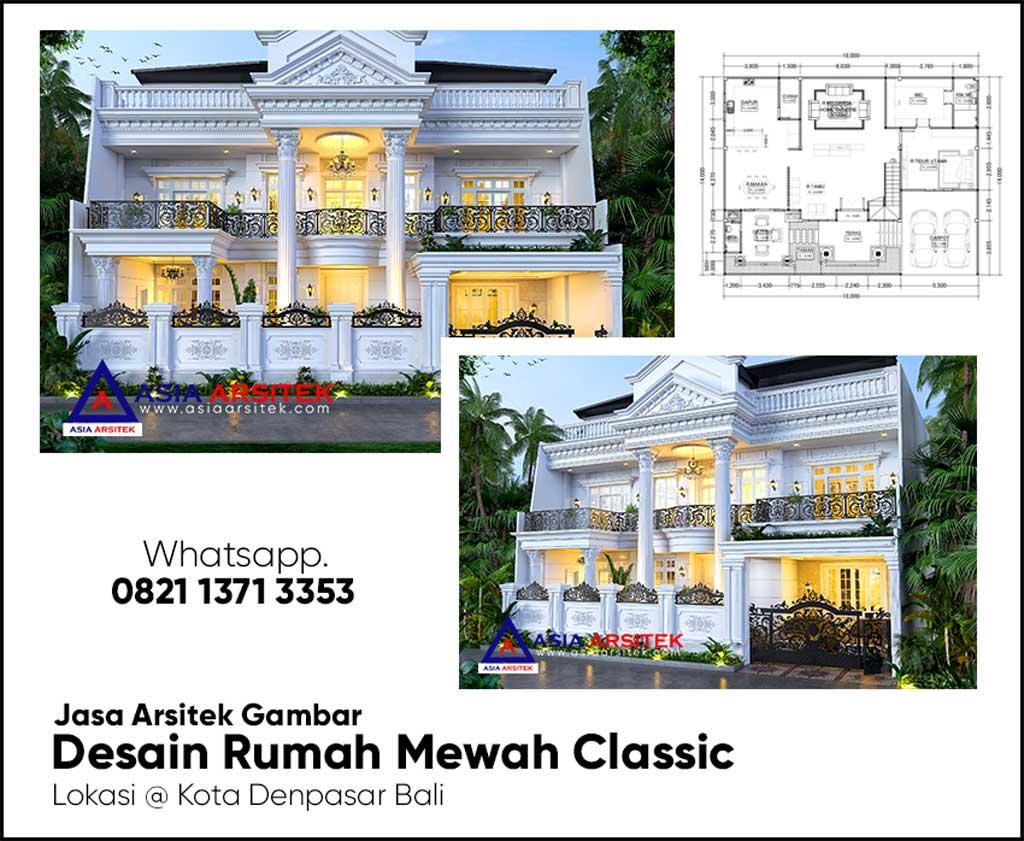 Jasa Arsitek Desain Gambar Rumah Classic 2 Lantai di Denpasar Bali