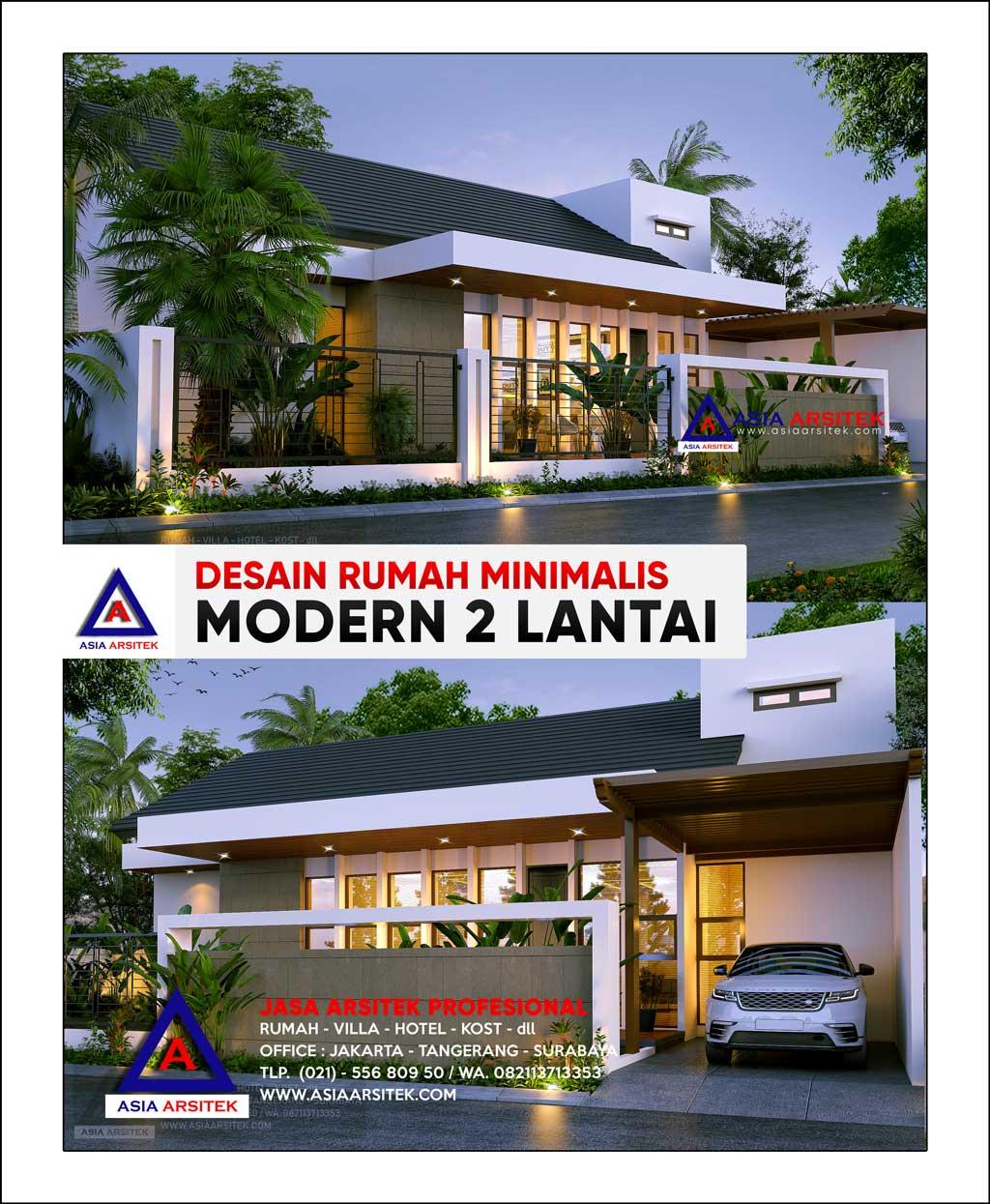Desain Rumah Minimalis Modern 2 Lantai Lahan 20 x 20 Meter di Jakarta Pusat