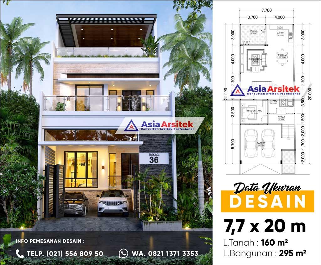 Jasa Arsitek Desain Rumah 3 Lantai Minimalis Modern di Taman Palem Lestari Cengkareng Jakarta Barat