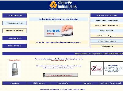 Indian Bank Net Banking E Banking Facility Available Asia Bizz