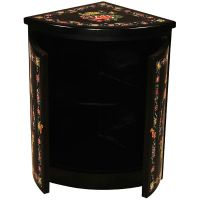 Floral Design Black Lacquer Corner Storage Cabinet
