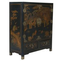 Black Leather Hand-painted Oriental Storage Cabinet