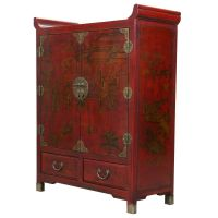 Red Leather Hand-painted Oriental Storage Cabinet