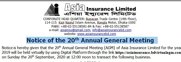 Notice Of The 20th Annual General Meeting