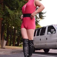 Asian Ladyboy Krissy4u In Pink And Boots!