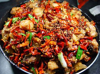 Traditional Szechuan Cuisine; Note the sheer amount of peppers and spices present in the dish