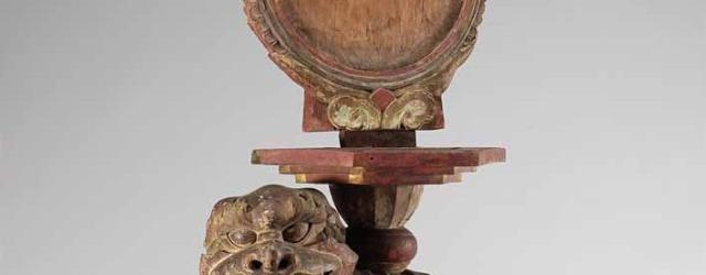 Karma mirror and stand, 19th century, wood with painted decoration, 98.2 x 36.4 cm. National Museum of Korea, Seoul.