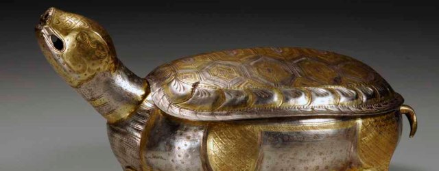 Turtle-shaped container, China, by 874, partly gilded silver, 13 x 15 x 28.3 cm, probably used to store tea powder. From the rear chamber of the Famen Temple crypt. Famen Temple Museum
